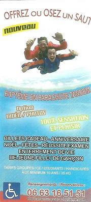 Offrez un saut en parachute tandem